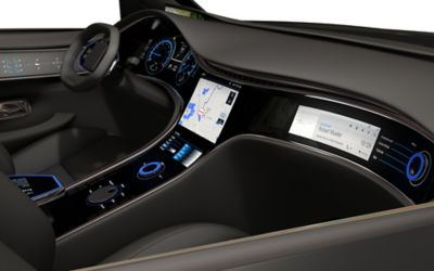 Passenger side view of Henkel's newest car interior of the future.