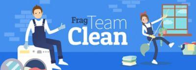 1,5 Meter Abstand zwischen den beiden Frag-Team-Clean Maskottchen