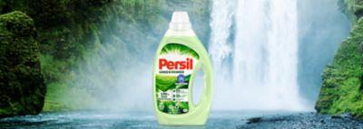 Persil Green Power Gel, im Hintergrund eine idyllische Landscaft mit Wasserfall.