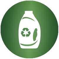 """Symbol für """"Recycelte& wiederverwertbare (recycelbare) Flasche"""""""