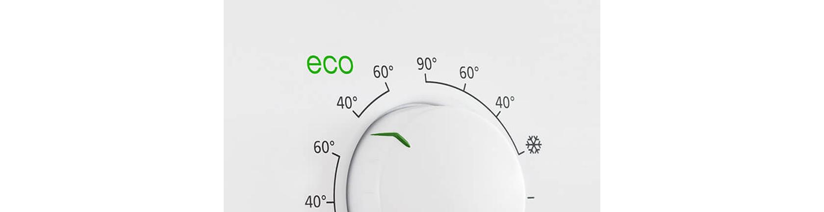 Detailansicht: Temperaturregler einer Waschmaschine mit Eco Funktion