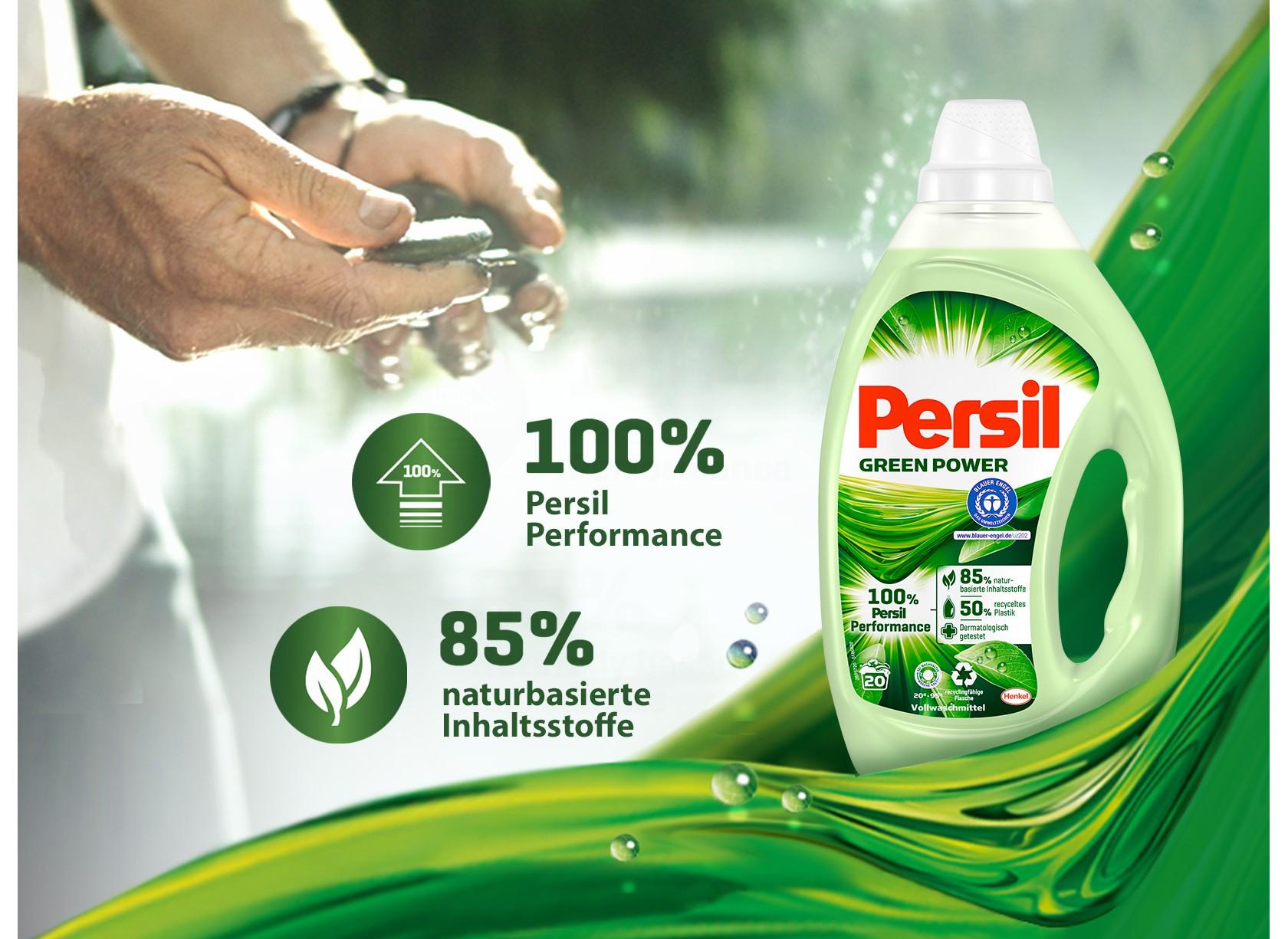 Persil Green Power Gel vor der Kulisse einer idyllischen Seelandschaft.