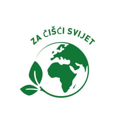 Zeleni znak u obliku zemaljske kugle Za čišći svijet