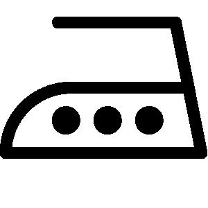 "Pflegesymbol für ""Mäßig heiß, d. h. bis maximal 200 °C, bügeln."""