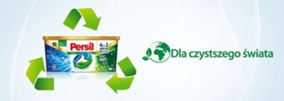 """Baner kapsułki Persil DISCS, Logo """"Dla czystszego świata"""""""