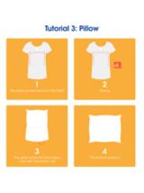 Ein Tutorial, das zeigt, wie man ein altes T-Shirt in einen Kissenbezug umfunktioniert
