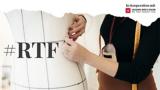 """Oberkörperasicht einer Schneiderin die an einer Schneiderpuppe arbeitet, links am Rand des Bildes steht """"RTF"""""""