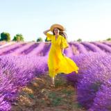 Eine Frau in einem gelben Kleid steht auf einem Lavendelfeld