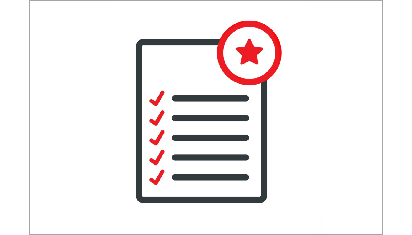 Vector icon representing a compliance checklist for quality, safety and governmental regulations illustrated in grey, white and red
