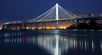 LED light show at Bay Bridge San Francisco