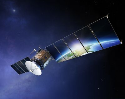Satellite communications with earth reflecting in solar panels