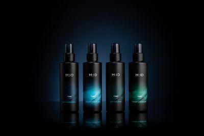 scalp care M ID range tonic product bottles