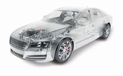 Semi-transparent silver Audi A8