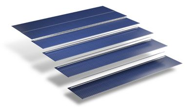 3d Illustration of cascading sections of shingled solar panel on white background with shadows jpeg file format