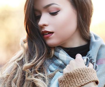 Woman outside with balayage hair