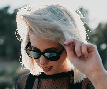 Woman with short hair in scandi blonde color