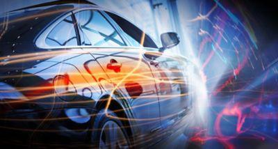 Conducción de automóvil eléctrico con luces eléctricas