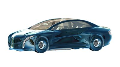 Side view of stylized blue henkel future car with big sunroof.