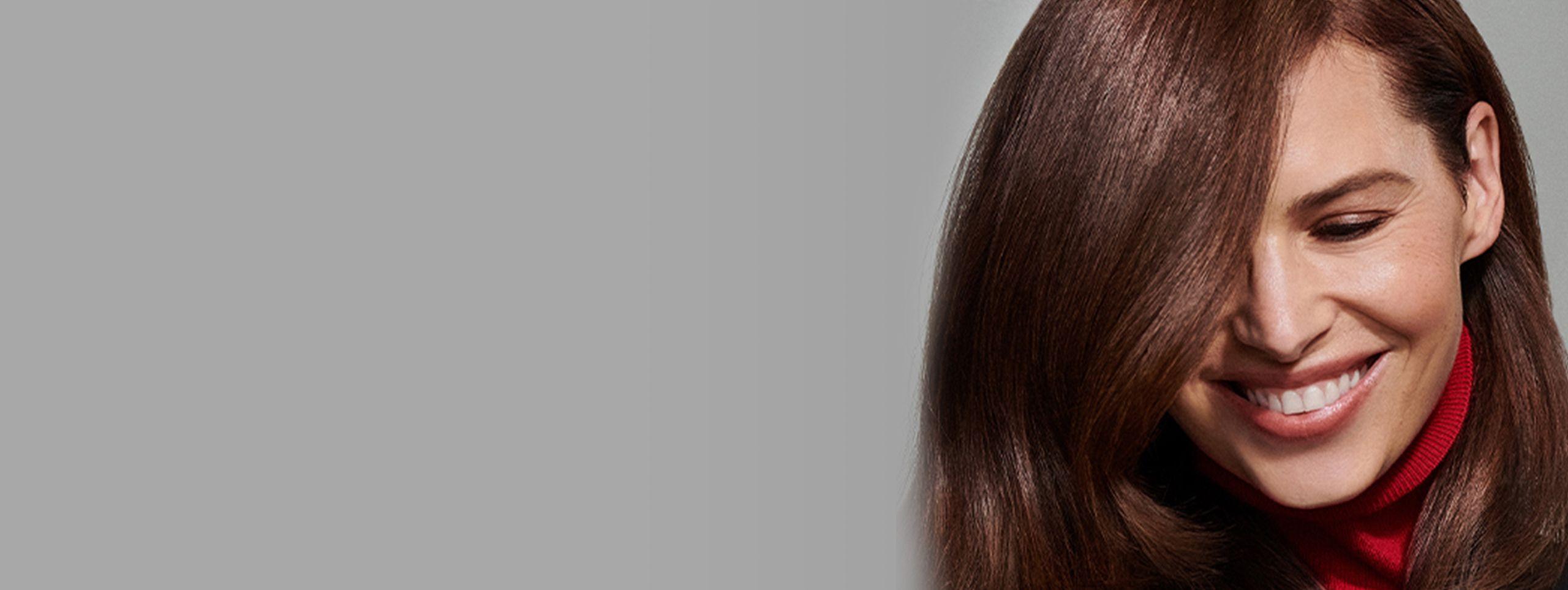 Woman with chestnut ombré hair