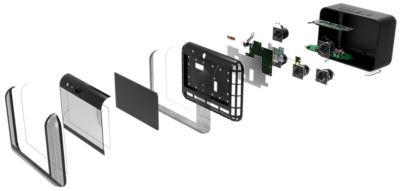 3D illustration of smart speaker device assembly teardown accordion view showing internal parts and electronic components