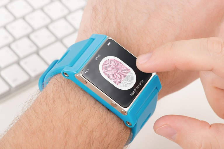 blue smart watch with fingerprint sensor