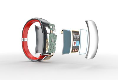 3d illustration of smart watch exploded teardown acordian view showing internal electronic components