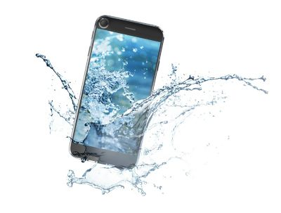 3d illustration of a smartphone splashing into water on a white background represents henkel solutions for device protection shutterstock ID 438811837