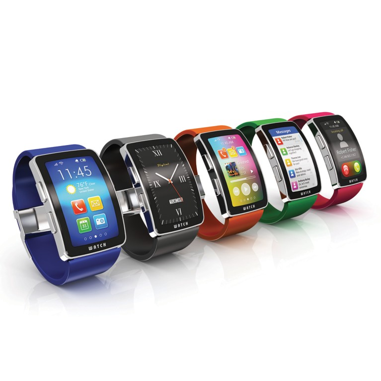Five wearable mobile devices in a number of colors
