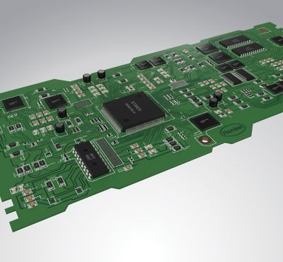 3d illustration of a green printed circuit board with surface mount components