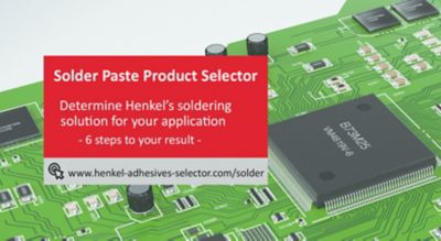 Illustration of closeup view of a green smt printed circuit board with red banner that guides user to the solder paste product selector includes text description and url