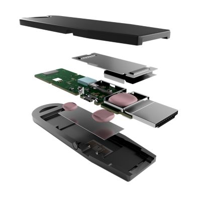 3D illustration of a streaming stick exploded to show interior components.