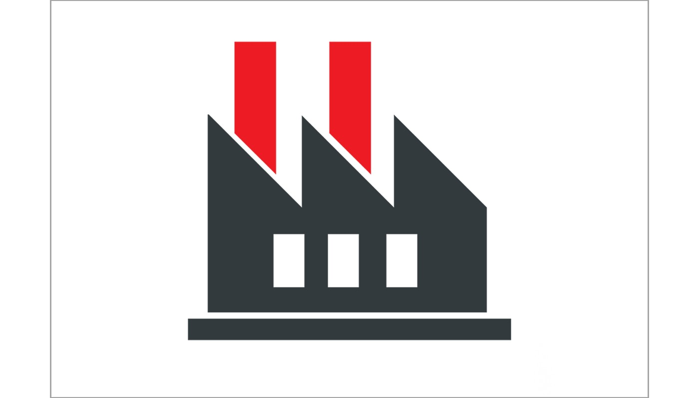 Vector icon representing a factory for product supply chain illustrated in grey, white and red