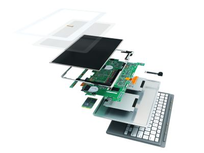 3D illustration of handheld tablet device teardown accordion view showing internal electronic components and external keyboard