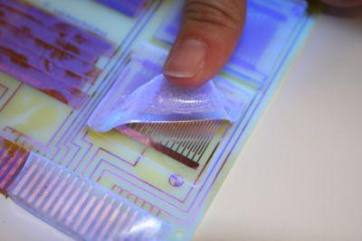 用手指将一块TECHNOMELT基材涂层从组件上拉下来。