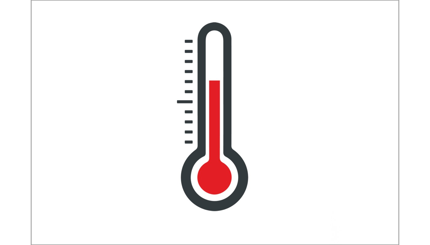 Vector icon representing a thermometer for measuring temperature and thermal management illustrated in grey, white and red