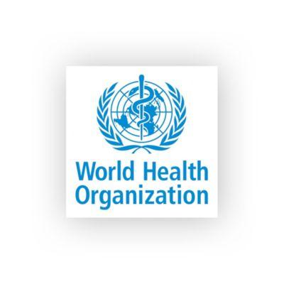 Symbole de l'Organisation Mondiale de la Santé sur fond d'écran flouté