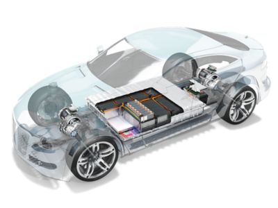 Transparent electric vehicle body showing the battery storage system