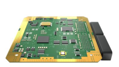 Upper view of an ECU green PCB with connectors.
