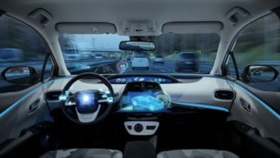 3D illustration of a stylized vehicle interior while driving with a heads up display (HUD)