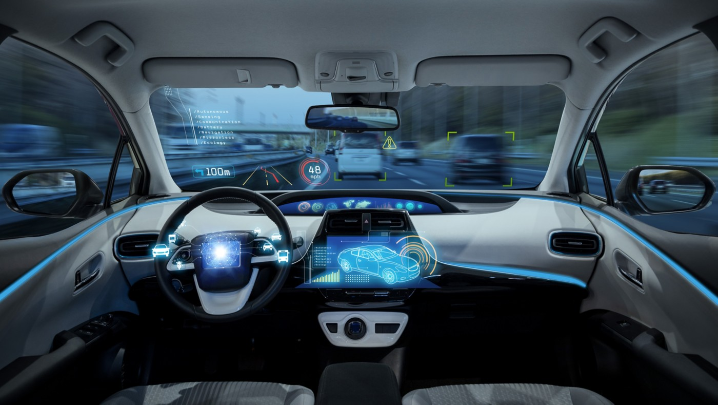 3D illustration of a stylized blue vehicle interior with a heads up display