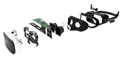 3D illustration of a virtual reality headset exploded to show interior components.