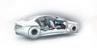 White concept car showing the insides of the vehicle with new, innovative technology