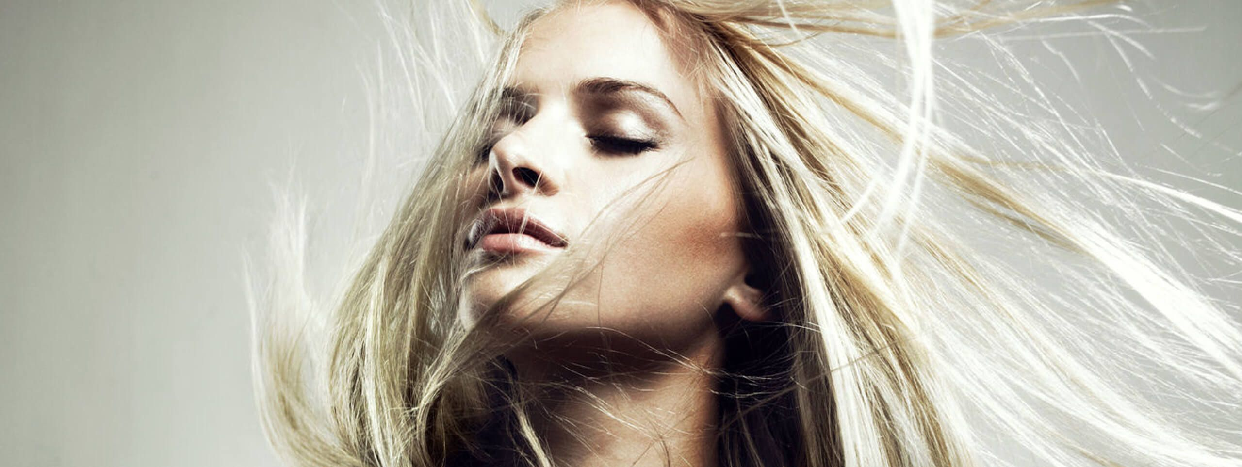 Woman with healthy blonde hair