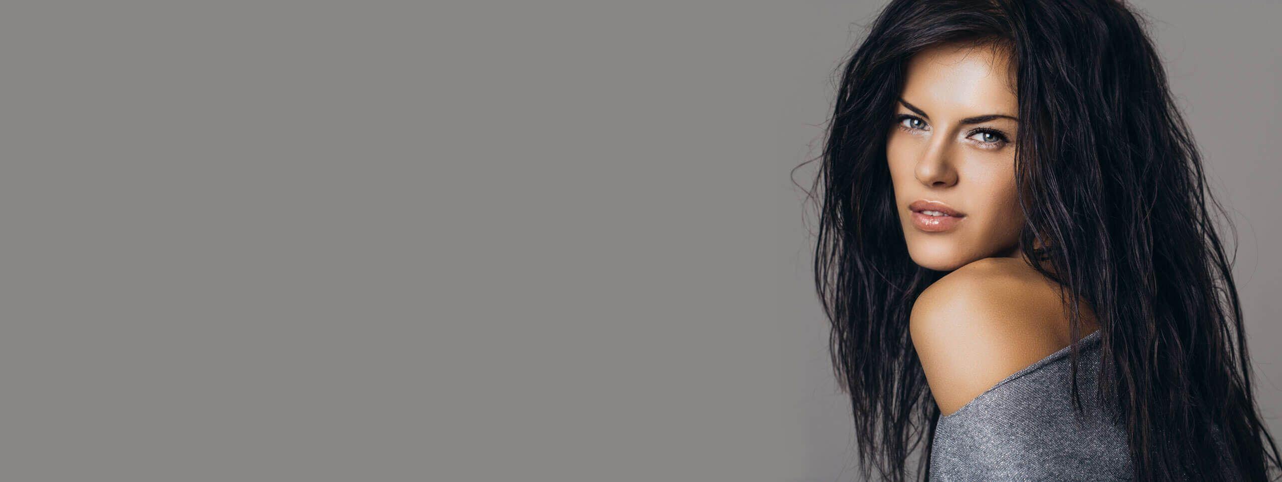 Woman with long black haircolor