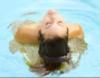 Brunette woman in pool