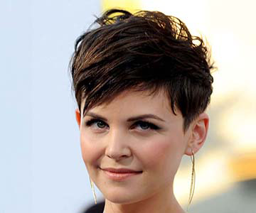 Woman with very short hairstyle